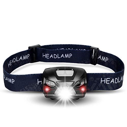 shenkey Linterna Frontal LED USB Recargable Super Bright Headlights 300 Lúmenes, 6 Modos de Iluminación, Blanco y Rojo LED, Waterproof Hard Hat Ligh Ideal para Acampar, Correr, Caminar y Leer