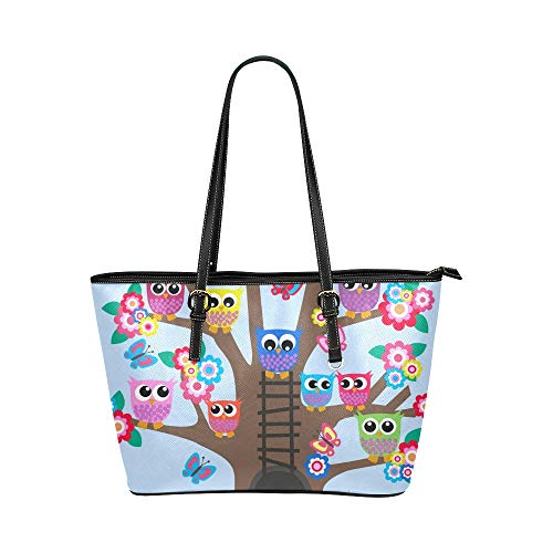 Plsdx Godetevi felice famiglia gufo grande pelle portatile superiore manico borse a mano borse causali borse a tracolla zip shopping bag bagaglio organizzatore ragazze della signora delle donne