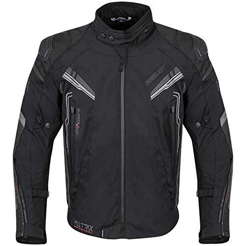 Germot Herren Motorrad-Textiljacke Matrix, wind- und wasserdicht, Blouson, schwarz/grau, XL