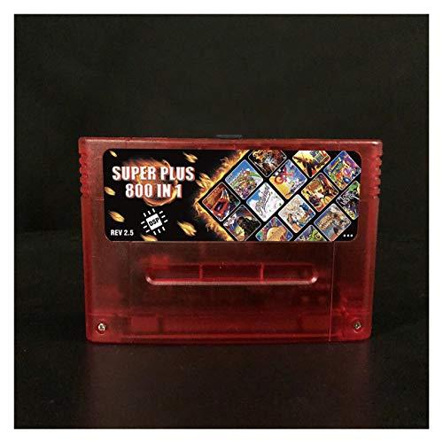 GAOHEREN New Super DSP Version Plus 800 en 1 Rev 2.5 Tarjeta de Juego Fit for 16 bit Game Console Cartridge Support Todas Las Consolas de EE. UU. / EUR/Japón GHR (Color : DSPplus Clear Red)