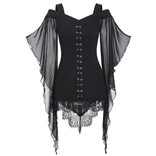 XOXSION Camisetas góticas para mujer, de manga larga, de encaje, tallas grandes, de bruja, elegante, retro, sexy, túnica, divertidas, para mujeres, adolescentes, niñas, Negro , M