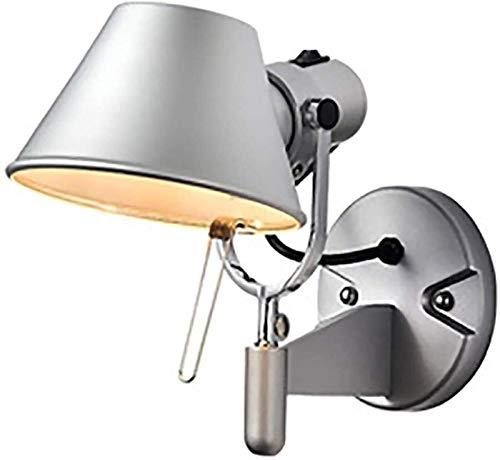 FHW Lámpara de la cama Lámpara de lectura Dormitorio Estudio de la cama Estudio de la sala de estar Industria vintage Lámpara de pared de aluminio de plata ajustable E27 Socket Light Lámparas de escri