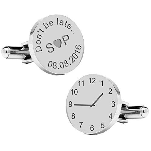 "MugsnKisses Tasse personnalisable Inscription ""Don't be late.."" Special Time-Boutons de manchette"