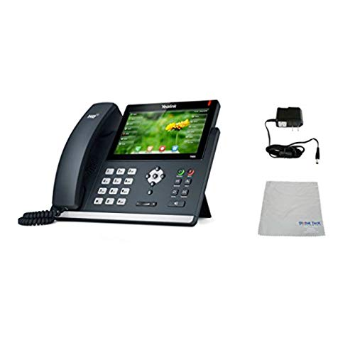 Global Teck Bundle of Yealink T48S SIP POE Office Phone Bundle with Power Supply and Microfiber Cloth   Requires VoIP Service - Vonage, Ring Central, 8x8, Mitel or Cloud Services
