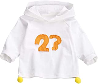 Xifamniy Infant Girls Cotton Tops Long Sleeve Letter Print Solid Color Hooded Sweatshirt White