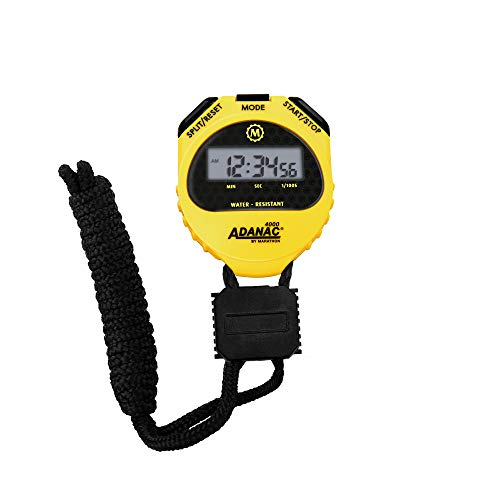 MARATHON ST083009 Adanac 4000 Digital Stopwatch Timer with Extra Large Display and Buttons, Water Resistant, Two Year Warranty - Yellow