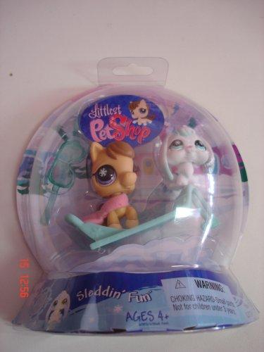 Littlest Pet Shop - Sleddin' Fun - Chilliest  - Pferd / Pony #684 & Hase #685 - mit Pferde-Schlitten & Skibrille - OVP