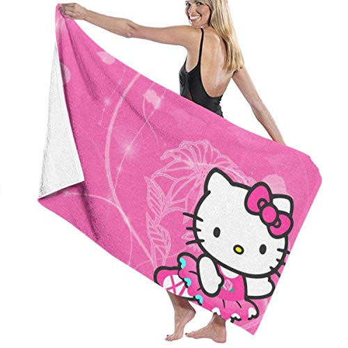 Shenguang he-llo ki-tty toallas de baño de microfibra impresas antidecoloración de gran tamaño, suaves absorbentes toallas de baño adecuadas para baños, piscina, playa, spa, cubrir toallas de baño