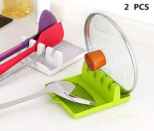 YFOX Estante de utensilios de cocina con tapete de goteo de múltiples ollas, resistente al calor, antideslizante, sin BPA, estante de espátula, tenedor y otros soportes, dos piezas (blanco + verde)