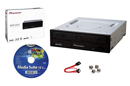 Pioneer BDR-2212 Internal 16x Blu-ray Writer Drive Bundle with Cyberlink Burning Software, SATA Cable and Mounting Screws - Burns CD DVD BD DL BDXL Discs