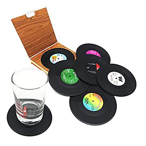 SAIBAO 6pcs Creativo Negro Plástico Disco de Vinilo Manteles Individuales de Mesa Retro Vintage Mug Coaster Decoración para el hogar CD Pads Tapetes Cup Coasters Negro-predeterminado