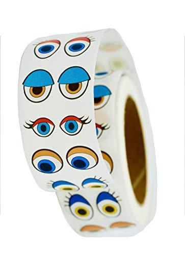 Klebeaugen basteln I 1000 Paar I MAXI-Rolle selbstklebend 2000 Bunte bastel Augen auf Rolle + GRATIS Mal Überraschung I Kunststoff Augen für Kunsthandwerk Spielzeug Zubehör