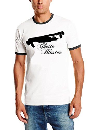 Coole-Fun-T-Shirts Ghettoblaster - PUMPGUN - Ringer T-Shirt Weiss Gr.XXL