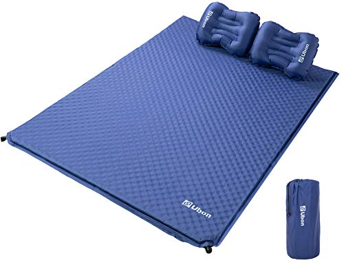 Ubon Double Self Inflating Camping Sleeping Pad with 2 Pillows, Lightweight Compact Foam Sleeping Mat for Camping Hiking Picnic Outdoor,Dark Blue