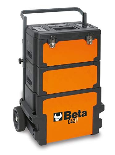 Beta C42H 4200H - Trolley porta attrezzi con ruote da 160mm, 3 moduli estraibili: 1 Cestello porta attrezzi superiore altezza 220mm, 1 Cassetta porta attrezzi centrale altezza 180mm, inferiore 330mm