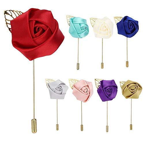 Agatige 8Pcs Flor Solapa Pin Boutonniere, Lady Men Ramillete de Rosas Artificiales para el Novio Nupcial Padrino de Boda Dama de Honor Boda Fiesta de graduación