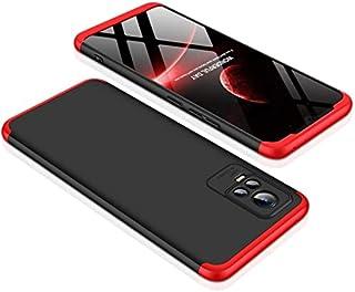 حافظة جي كي كيه الأصلية ل Vivo V21 5G حافظة 3 في 1 درع حماية ضد الصدمات غطاء صلب مطفأ اللمعة (أحمر أسود)