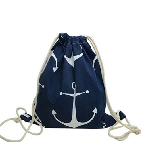 Brave Tour Drawstring Backpack Anchor Drawstring Bag with Canvas Pockets for Men Women Kids Gym/Hiking/Travel(Navy Blue)