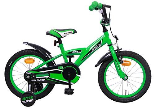 AMIGO BMX Turbo - Kinderfahrrad für Jungen - 16 Zoll - mit Handbremse, Rücktritt, Lenkerpolster und Stützräder - ab 4-6 Jahre - Grün