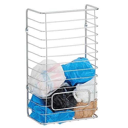 mDesign Plastiktüten Aufbewahrung – Edelstahl Aufbewahrungskorb für Tüten zum Aufhängen – Halterung für Tüten zur Aufbewahrung von bis zu 50 Plastiktüten – silberfarben