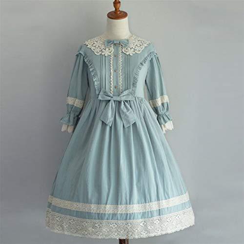 Tallas Grandes Vestido de Lolita gtico Casual Victorian Vestido Medieval de Encaje Medieval Mujer Princesa Vestido Chica Cosplay Disfraz (Color : Blue, Size : 5XL)