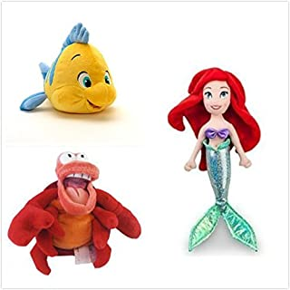 "Disney Official Exclusive The Little Mermaid 3 pcs Plush Set : 12"" Ariel, 10"" Flounder, 8"" Sebastian The Crab."