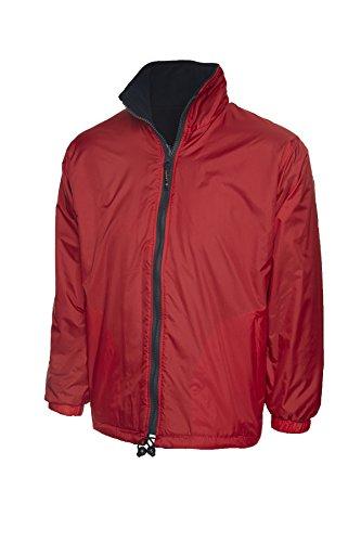 Uneek Premium Wendejacke, Fleece, Herren, regendicht und winddicht–4Farben erhältlich Gr. XL/ 117 cm, Rot / Marineblau