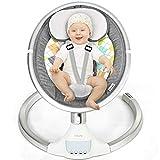 DREAMADE Elektrische Babyschaukel mit Fernbedienung, Babywippe mit 5 Schwingungsamplituden & 3 Timing, Elektro Schaukelstuhl mit Musik USB Bluetooth, für Neugeborene 0-12 Monaten (Modell1-Grau)