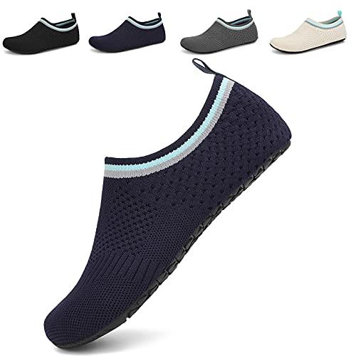 Acfoda Zapatillas de estar por casa para hombre y mujer, ligeras, transpirables, antideslizantes, planas, cómodas, zapatos descalzos, tallas 36-47, 02 azul oscuro., 42/43 EU