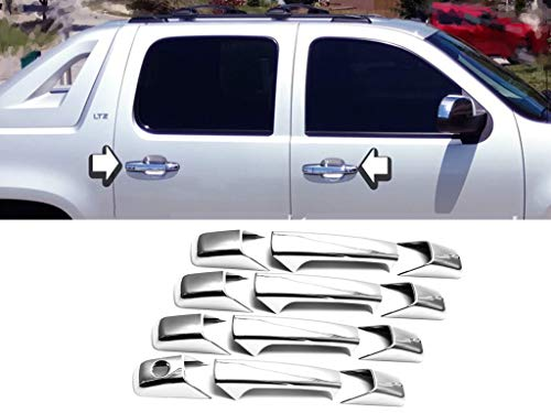 eLoveQ Chrome 4 Door Handle Covers w/o Passenger Key Hole Compatible with 07-13 Chevrolet Silverado / 07-14 Chevrolet Avalanche/Suburban/Tahoe/GMC Sierra/Yukon&Yukon XL/Cadillac Escalade