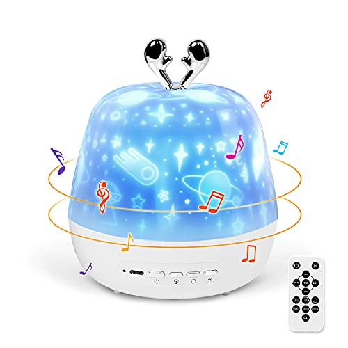 Veilleuse étoilée, Gemmac Projecteur de Musique, Veilleuse Musicale Pour Enfant, Charge USB, 360°, Cadeau D'anniversaire, Cadeau de Noël, Décoration de Chambre (Bois de Cerfs)