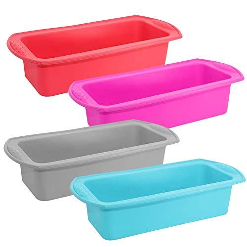 4PCS moldes para pan, Moldes para hornear antiadherentes de silicona para panes, pasteles y lasaña Molde para Hornear DIY Suministros de Cocina Pastel- 27 * 13 * 6.5CM