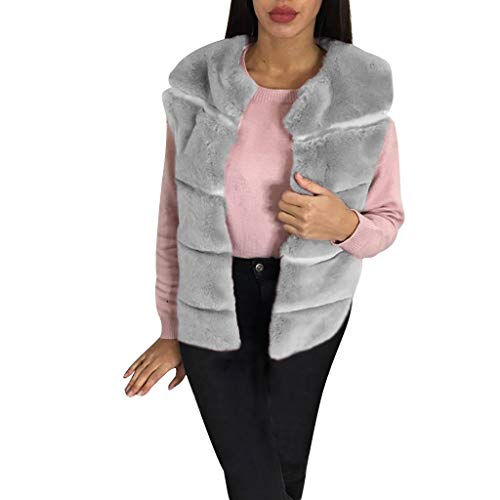 Damen Warme Kunstpelz Dicke Mantel Winterjacke Solid Round Collar Westen Oberbekleidung