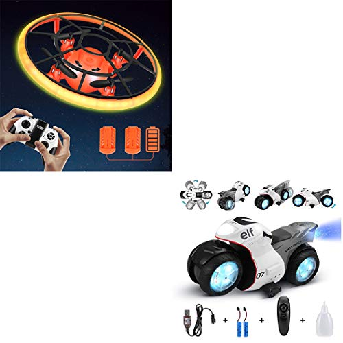 Combination Package,Mini Drone for Kids(Orange),RC Motorcyle for Kids(White)
