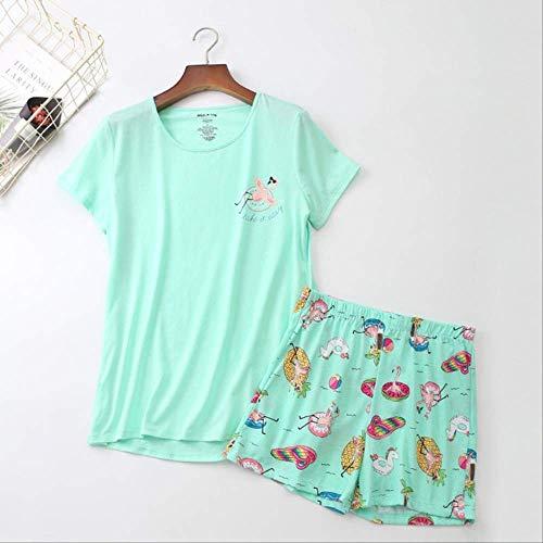 Conjunto de pijamas de verano para mujer Animal de dibujos animados de manga corta + pantalones cortos 2 piezas Ropa de dormir Comodidad Cuello redondo suave Ropa de hogar S Dibujos animados Verde