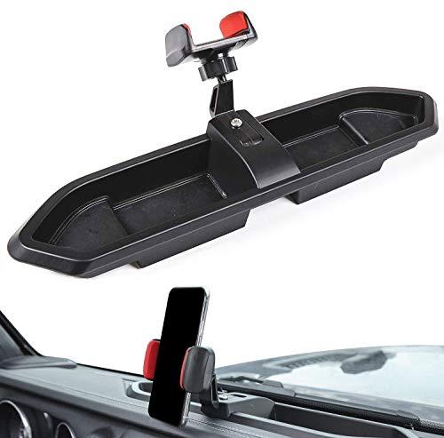 JL Soporte para tabletas de teléfono celular con caja de almacenamiento, caja organizadora de accesorios interiores, soporte múltiple para salpicadero para Jeep Wrangler 2018 2019 2020