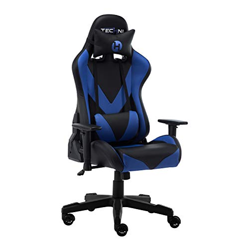 Techni Sport PC Gaming Chair with Foam Seat and Padded Arms, Reclining Office Chair with Height and Tilt Adjustable, Blue