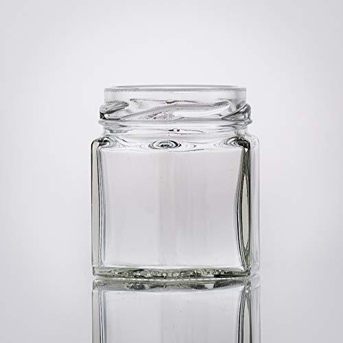 Botellero con 32 Vasos hexagonales de 47 ml, Incluye un Cierre Blanco Twist-Off como Tarro, para Guardar Especias o como pequeño Vaso de Miel.