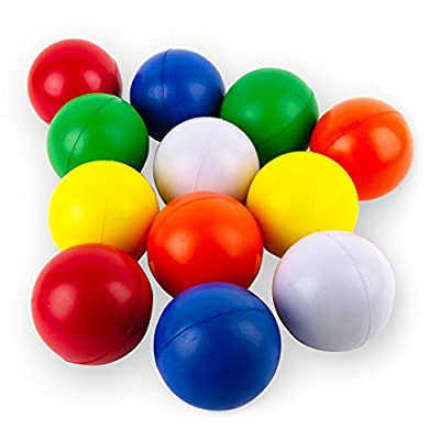 Boley Foam Stress Ball Set - 12 Pack Small Stress Balls for Kids and Adults - Anxiety ADHD Autism and Stress Relief Ball Set - Squishy Squeeze Stretch Round Foam Fidget Balls in Bulk
