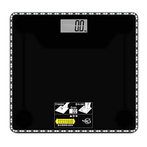 BHJqsy Básculas de baño de Peso Digital de Alta precisión con tecnología Paso a Paso, Que Incluyen Cinta de medición volumétrica, 28st / 180kg / 400lb, Pantalla retroiluminada (Color : Black)