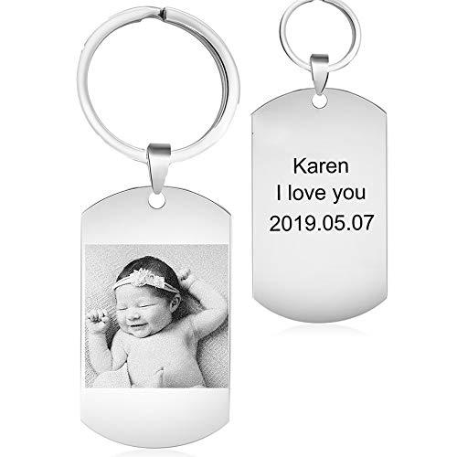 kaululu Anhänger Personalisierte Gravur mit Bild Namen Schlüsselanhänger Geschenk Edelstahl Halskette mit Foto Kette Dog Tag Fotogeschenk Schmuck für Damen (Silver Round)