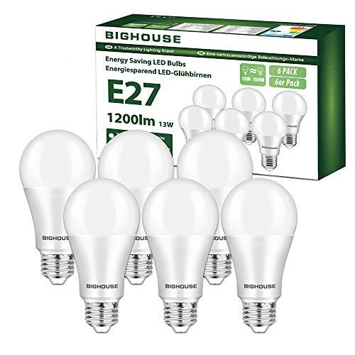 Ampoule LED E27, 13W équivalent Ampoule Halogène 100W, 1200LM, Blanc Froid 6000K, A60 Culot Edison à vis, Lot de 6