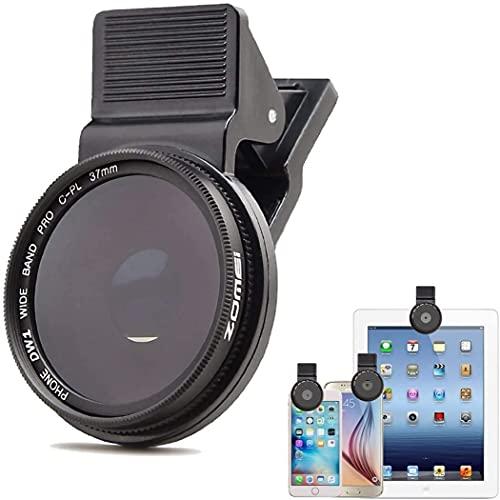 TMOM - Lente de cámara de 37 mm, filtro CPL, filtro de clip para iPhone 11/8/7 Plus, polarizador circular para smartphones Samsung Galaxy S8 Android