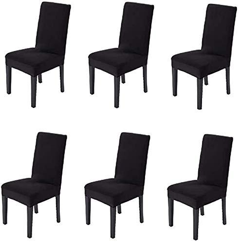 Littleprins Stuhlhussen 6er Set Stuhlbezug elastische Moderne Sitzschuz Stretch-Stuhlhussen Stuhlüberzug für Esszimmer Stuhl Hochzeit Partys Bankett Deko schwarz (schwarz)