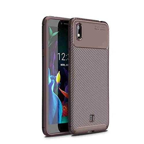 Capa Capinha Anti Impacto Para LG K8 Plus com Tela de 5.45 Polegadas Case Com Desenho Fibra De Carbono Shock Queda - Danet (Marrom)