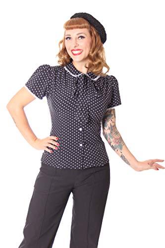 SugarShock Damen Schluppenbluse Bluse Syril Polka Dots, Größe:S, Farbe:Schwarz