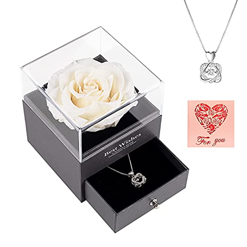 AirCover Preserved Real Rose with Heart Necklace and Card. Forever Rose Gifts for Mom/Women/Girlfriend/Wife/Her/Best Friend/Valentine's Day/Birthday/Anniversary/Thanksgiving/Christmas (White)