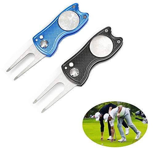 ysister 2 Stück Golf Pitchgabel, Pitchgabel Golf Klappbar, Edelstahl Golf Divot Tool, Pitchgabel klappbar mit Coin zur Ballmarkierung, Divot Tool für Golf Club-Sport im Freien