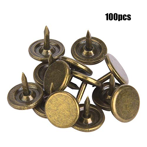 Sheens 100Pcs Polsternagel, großer Flacher Kopf-Cyan-Blauer Bronzepolsternagel-antike Polster-Reißnägel-Metallnägel-Möbel-dekorative Stifte(9 x 8mm)