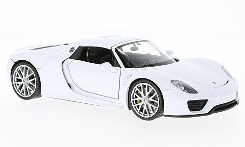 Porsche 918 Spyder, weiss, geschlossen, Modellauto, Fertigmodell, Welly 1:24